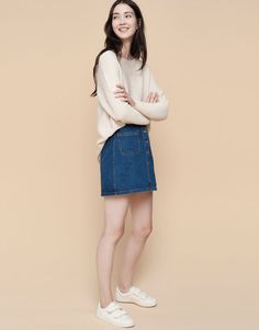 Pull&Bear - mujer - faldas - falda tejana botones delantero - azul oscuro - 09398306-I2015