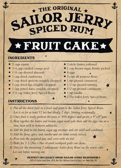 Jesus, why have I never seen this recipe before. One for Xmas I think :) Sailor Jerry Spiced Rum Fruit Cake Rum Fruit Cake, Rum Cake, Fruit Cakes, Christmas Cooking, Christmas Desserts, Christmas Fruitcake, Christmas Cakes, Sailor Jerry Rum, Rum Recipes