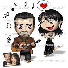 Caricatura para casamento - Noivado Valdirene e Adair - namorados cuttie