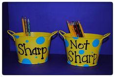 Pencil holders made from plant pots from the dollar store... only a 2 dollar project.... my favorite kind :)