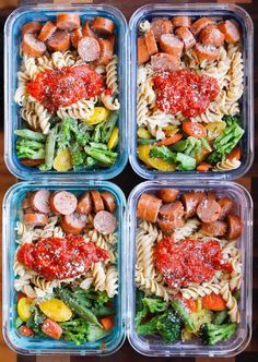 Healthy Meals Chicken Sausage Pasta Meal Prep Bowls are a super quick and easy gluten-free meal prep solution! - Chicken Sausage Pasta Meal Prep Bowls are a super quick and easy gluten-free meal prep solution! Easy Healthy Recipes, Healthy Drinks, Lunch Recipes, Healthy Snacks, Easy Meals, Healthy Eating, Easy Meal Prep Lunches, Meal Prep Cheap, Simple Meal Prep