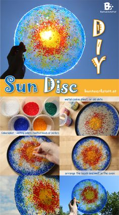 DIY Sun Disc – melted pony beads craft Put your plate in the oven and set it to 374°F or 190°C and let your beads melt. You should have melted beads in 20 – 30 minutes. Just keep checking the oven from time to time. And yes, it will smell a little funny! Colouraplast is non toxic, but I recommend to open the windows nonetheless. Little trick: Put a glass with some water and vinegar in the oven while your beads are melting. It will absorb most of the smell.