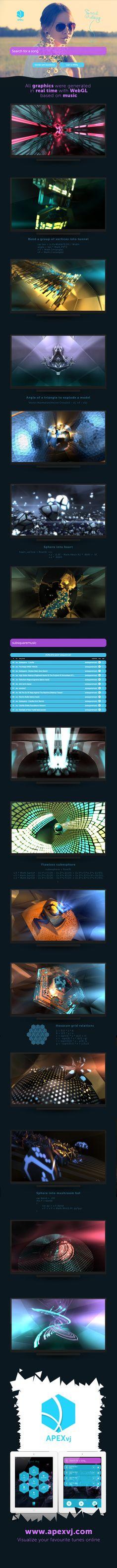 APEXvj v3 design portfolio. http://www.apexvj.com/  website, webgl, generative, demoscene, music, music visualization, webdesign, ui, 3d, realtime