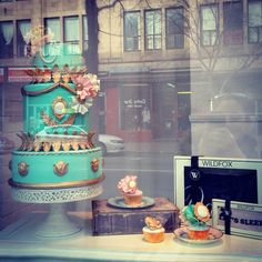 """My cake and cupcakes in the window display of the fabulous @boutique1861 on St Laurent!! And of course I couldn't leave the store without a couple of GORGEOUS dresses!! #cake #cupcakes #fashion #chic #couture #boutique #vintage #style #romantic #1861 #shopping #montreal #montrealcakes #cupcakeetmacaron"" Photo taken by @mounbeam on Instagram, pinned via the InstaPin iOS App! http://www.instapinapp.com (11/24/2013)"