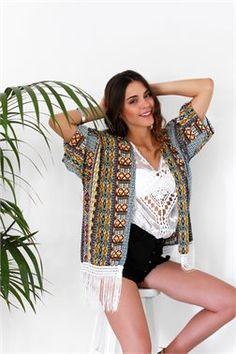 Bohemian Fringed Kimono - ΡΟΥΧΑ -> Kimono & Jackets   Made of Grace