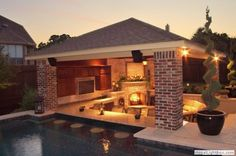 Outdoor room with swim up bar ~ love this.