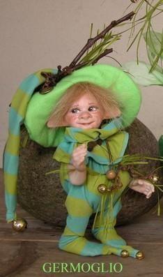 Elf doll: Bud, Porcelain Fairy Dolls - Porcelain Fairies Elves - Elf doll: Porcelain Elves, height: 18 cm, handmade doll, U$131