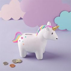 """Rainbow Unicorn Bank in Gift Box Hand-Painted Ceramic Material:Ceramic Dimensions: 6 W x 2 D x 4 H"""" Cardboard Gift Box Diy Unicorn, Unicorn Rooms, Unicorn Room Decor, Unicorn Pillow, Unicorn Bedroom, Unicorn Gifts, Rainbow Unicorn, Unicorn Fantasy, Unicorn Birthday Parties"""