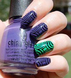 """Hypnotize- Purple and Lime Green Konad"""