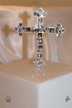 "Baptism Cake Topper Cross 5"" Mosaic Style For Baptisms Christenings Communion by Chicsparkles on Etsy Monogram Cake Toppers, Gold Cake Topper, Cross Cakes, Caramel Icing, Baptisms, Communion, Wedding Accessories, Christening, Swarovski Crystals"