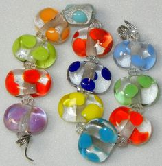 Handmade Lampwork Glass Little Colorful Bead Set by DIF Designs Beads 12 TEENY TINYDOTS