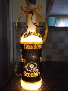 Steelers Sports Wine Bottle light by songbird58 on Etsy, $24.99