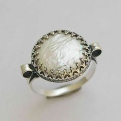 coin pearl sterling silver crown ring    Snow by artisanimpact