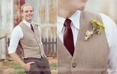 Nice casual look for the guys - different colors for our wedding though. Maybe grey and purple ties.