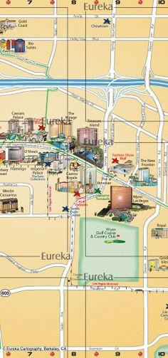 Las Vegas Strip map - illustrated hotels and casinos © Eureka Cartography, Berkeley, CA