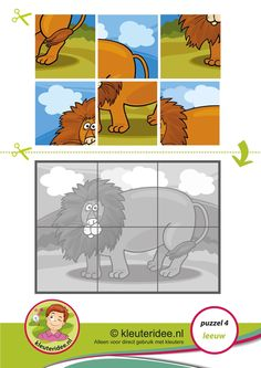 Puzzel leeuw, kleuteridee, thema Afrika, Preschool lion puzzle, free printable.