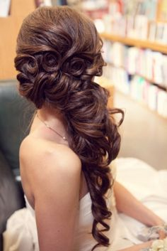 Wedding hair, prom hair, half up half down, side swept, curly hair ... LOVE IT!