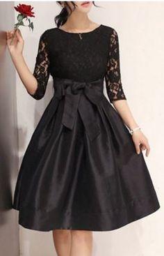 So Gorgeous! Elegant Round Neck Half Sleeve Hollow Out Bowknot Embellished Party Dress #Gorgeous #Elegant #Black #Lace #Party #Dress #Fashion #LBD #Little_Black_Dresses