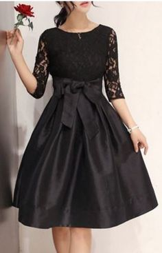 So Gorgeous! Elegant Round Neck Half Sleeve Hollow Out Bowknot   no link,  just the idea.