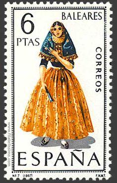 Trajes regionales españoles en sellos BALEARES