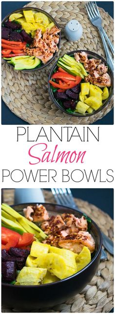 Healthy Paleo Plantain Salmon Power Bowl from http://WhittyPaleo.com