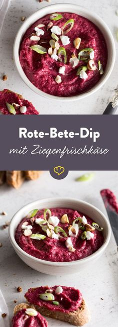 Dunk in and out: this dip is not only an absolute color in color . - Delicious Meets Healthy: Quick and Healthy Wholesome Recipes Yummy Snacks, Healthy Snacks, Healthy Recipes, Delicious Food, Healthy Meals To Cook, Healthy Cooking, Quick Dinner Recipes, Dip Recipes, Beetroot Dip