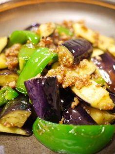 茄子とピーマンとひき肉の味噌バター炒め   Inspirecipe (いんすぴれしぴ) ~J吉の簡単でおいしい創作レシピ~