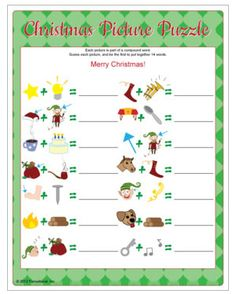 Christmas Picture Puzzle game - race to guess the picture clues. Printable Christmas games.