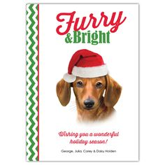 """Brightly share some furry and festive puppy love for the holidays with this fun Dachshund flat card. Showcasing the dog artistry of Howard Robinson, the front features an adorable image of a Dachshund in a Santa hat. A green chevron pattern accents the side and back panel while the front of the card displays the sentiment, """"Wishing you a wonderful holiday season!"""" in red."""