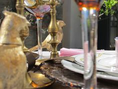 Valentine Day Tablescape - Brown and Pink table with brass accents. Brass salt and pepper shakers from thrift store...