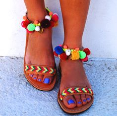 "Genuine leather sandals ""Ariel"" with friendships,coins &colourful pom pom"