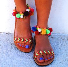 Genuine leather sandals Ariel with by MabuByMariaBk on Etsy