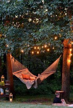 Backyard hammock and tree lights.