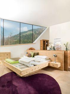 steiner zirbenbett rosengasse, modernes massivholzbett