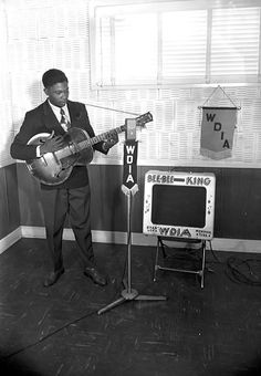 B.B. King performs on the Memphis, Tennessee radio station WDIA in the late 1940s.