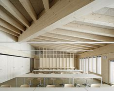 TEd'A arquitectes, Luis Diaz Diaz · School in Orsonnens Ted, Empty Spaces, School Building, Timber Wood, Wood Interiors, Wooden House, School Architecture, Contemporary Architecture, Open Plan