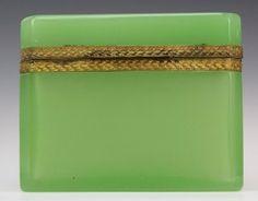 Apple Green French Opaline Glass Jewel Casket Box