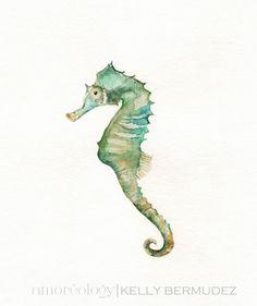 Seahorse/ watercolor print/teal/light von kellybermudez auf Etsy, $20.00