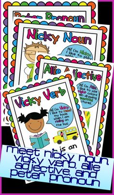 Parts of speech poster friends! Nicky Noun, Allie Adjective, Vicky Verb, and Peter Pronoun. verb, Parts of Speech Posters - Meet the Parts of Speech Friends Grammar And Punctuation, Teaching Grammar, Grammar And Vocabulary, Teaching Reading, Learning, Kindergarten Writing, Writing Activities, Literacy, Speech And Language