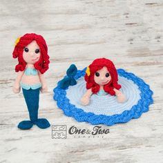 Marina the Mermaid Lovey and Amigurumi Crochet Patterns by One and Two Company