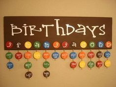 Family Birthday Board - also good for classroom