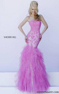 2015 Pink Sherri Hill 11263 Strapless Mermaid Gown