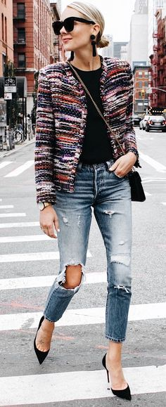 Chanel-style Jacket, Ripped Jeans & heels.