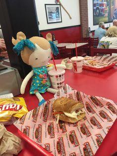 Sophia enjoying some lunch.
