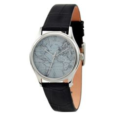 Vintage-inspired embossed leather watch topped with a round case.  Classic map face with simple detailing.