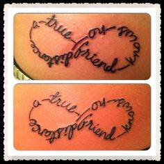 """""""A True Friend Knows No Distance"""" YAY! My best friend & I just got these on Sunday :) !! I am moving to Okinawa, Japan in March & we just had our """"6 year anniversary"""".  Distance will do nothing to our amazing friendship!!! I love you Melissa :))) xoxoxoo infinity baby!!!! #tattoos #infinity #bestfriends #forever"""