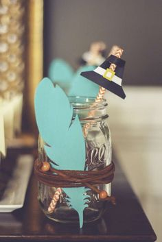 Mason jar drinks at a Thanksgiving party! See more party planning ideas at CatchMyParty.com!