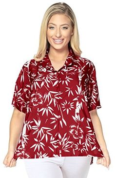 HAWAIIAN CASUAL FLORAL PRINTED V NECK POINT COLLARED WOMEN SHIRTS 1890 B_Red M. Do YOU want blouse in other colors Like Red | Pink | Orange | Violet | Purple | Yellow | Green | Turquoise | Blue | Teal | Black | Grey | White | Maroon | Brown | Mustard | Navy ,Please click on BRAND NAME LA LEELA above TITLE OR Search for LA LEELA in Search Bar of Amazon To get COMFORTABLE FIT and Right SIZE FOR YOU, request you to view SIZE CHART See LA LEELA's SIZE IMAGE in Product Image on the left. SAVE…