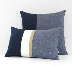 Navy Chambray Colorblock Pillow by Jillian Rene Decor