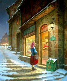 small_at-the-shop-window Toth Gabor Illustration Noel, Winter Illustration, Christmas Illustration, Illustrations, Christmas Scenes, Christmas Art, Creation Photo, Winter Painting, Theme Noel